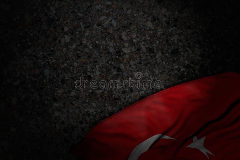 De mooie 3d illustratie van de nationale feestdagvlag - donker beeld van de vlag van Turkije met grote vouwen op donker asfalt me vector illustratie