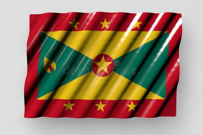 De mooie 3d illustratie van de nationale feestdagvlag - de glanzende vlag van Grenada met grote vouwen legt geïsoleerd op grijs vector illustratie