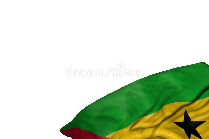 De mooie 3d illustratie van de nationale feestdagvlag - de vlag van Sao Tomé en van Principe met grote vouwen ligt in geïsoleerde royalty-vrije illustratie