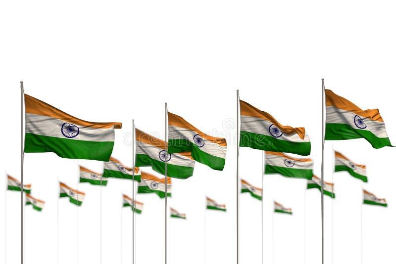 De mooie 3d illustratie van de vieringsvlag - India isoleerde vlaggen die in rij met zachte nadruk en ruimte voor tekst worden ge royalty-vrije illustratie