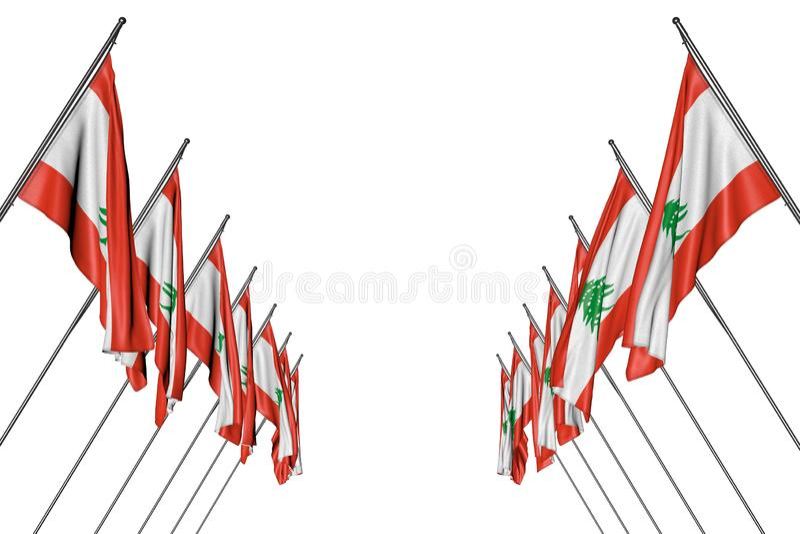 De mooie 3d illustratie van de vieringsvlag - vele vlaggen die van Libanon in hoekpolen van linkerzijde en geïsoleerde rechterkan stock illustratie
