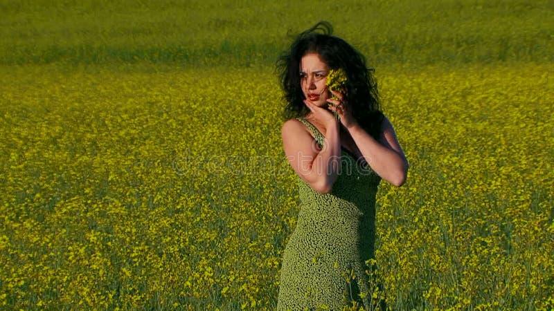 De mooie dame in groene kleding stelt op stock videobeelden