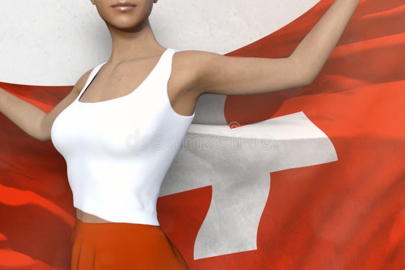 De mooie dame in heldere rok houdt de vlag van Zwitserland terug in handen achter haar op de witte achtergrond - markeer concepte stock illustratie
