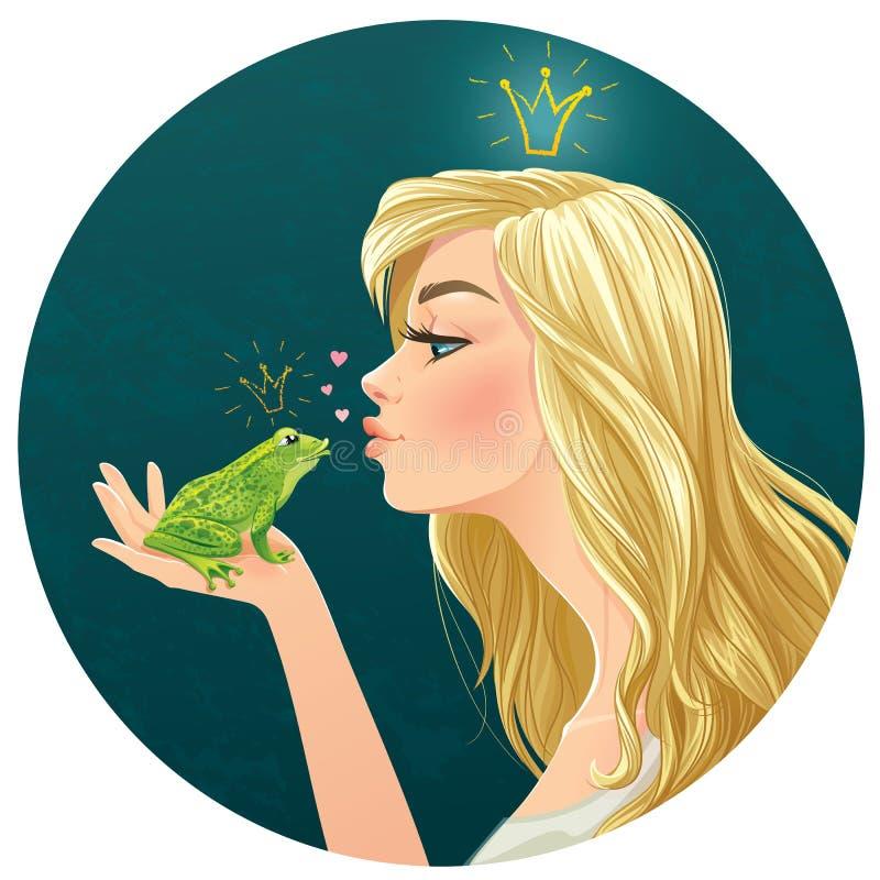 De mooie dame kust een kikker royalty-vrije illustratie