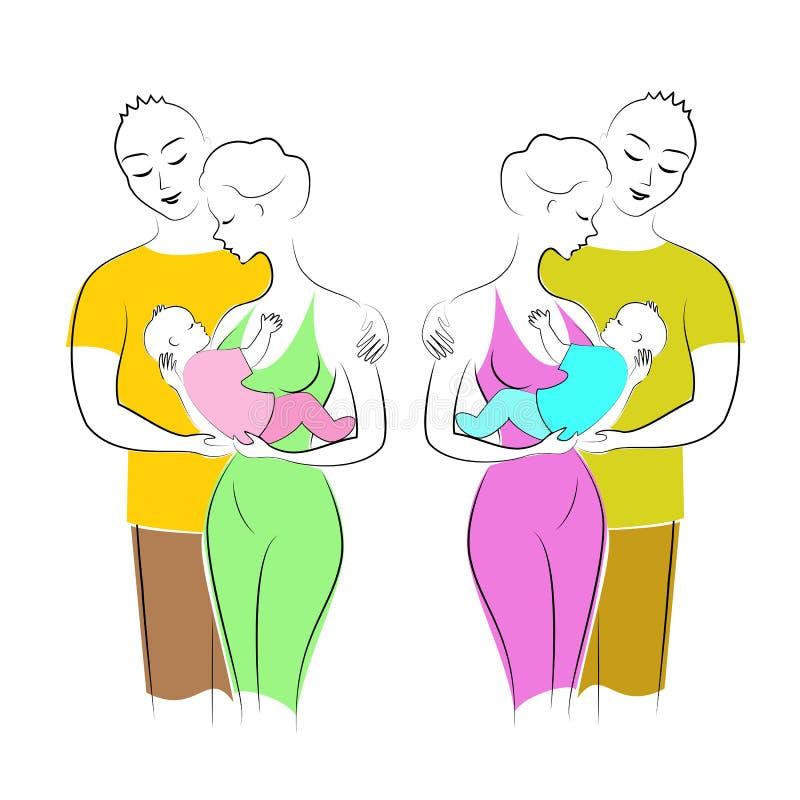 De mooie dames houden een kleine jongen en een meisje in hun wapens De mannen omhelzen vrouwen Vader, moeder en kind Twee gelukki vector illustratie