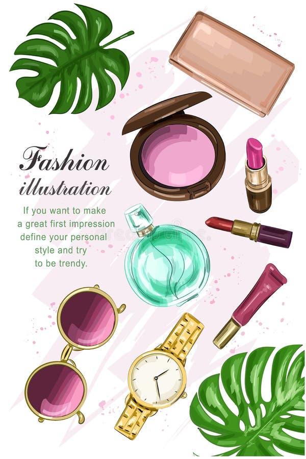 De mooie die schoonheidsmiddelen met lippenstiften worden geplaatst, blozen, parfum, beurs, zonnebril en horloge Hand getrokken m vector illustratie