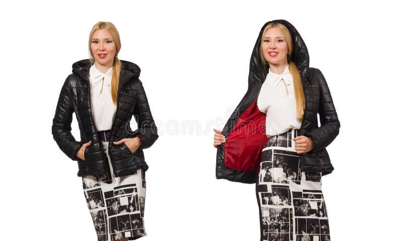 De mooie die vrouw in het jasje van Bologna op wit wordt geïsoleerd stock foto's