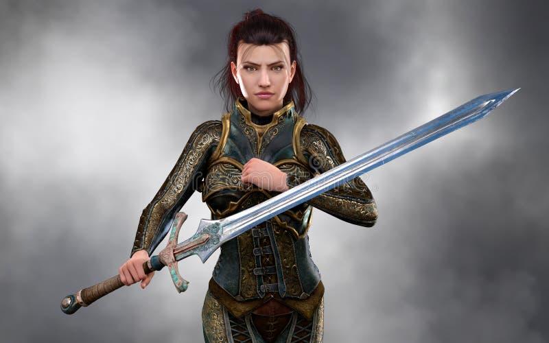 De mooie donkerbruine strijder die van de vrouwenmoordenaar fantasieuitrusting dragen royalty-vrije illustratie