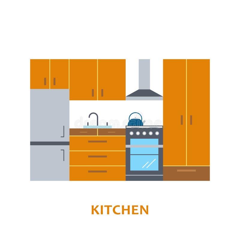 De mooie en kleurrijke vector binnenlandse ruimte van het keukenontwerp in in vlakke stijl Moderne huisdecoratie minimalistic royalty-vrije illustratie
