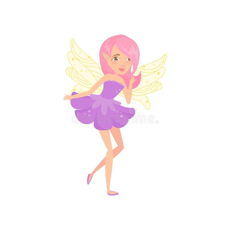 De mooie fee met vleugels kleedde zich in weinig purpere kleding Het karakter van het beeldverhaalmeisje met roze haar Fictief sc stock illustratie