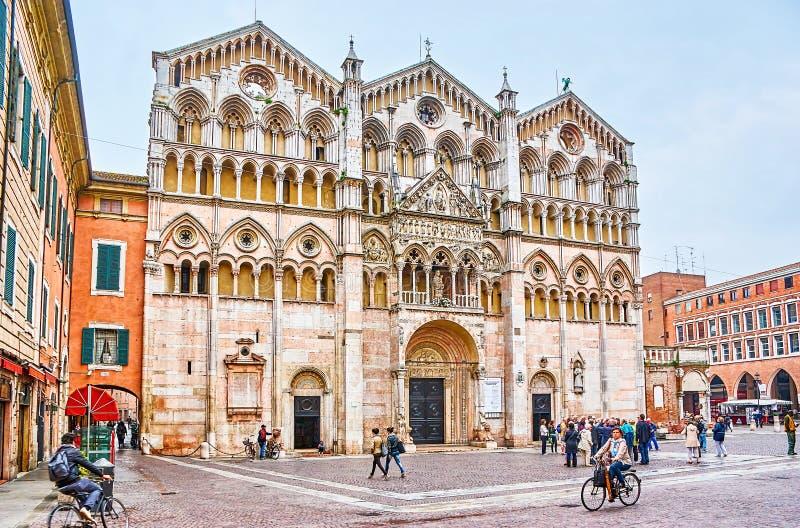 De mooie Ferrara Kathedraal, Italië royalty-vrije stock foto