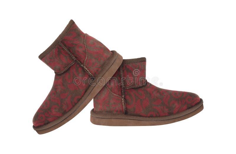 De mooie geïsoleerde laarzen van de vrouwen` s winter stock afbeelding