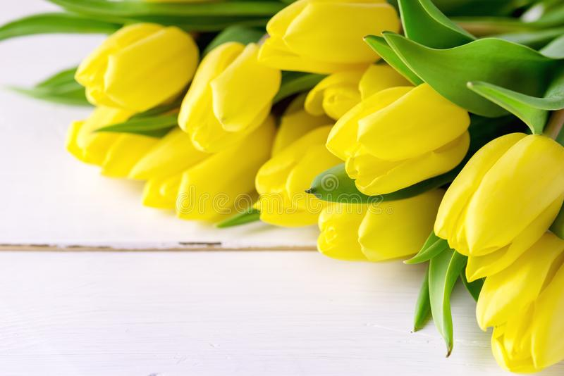 De mooie Gele Tulpen op Witte Houten Achtergrond kopiëren de Ruimte Mooie Achtergrond van de Lentebloemen met Bloemen stock fotografie