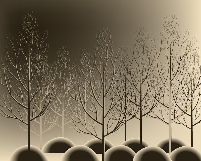 De mooie getrokken hand vertakt zich bos zonder bladeren De herfstboom van Nice royalty-vrije illustratie