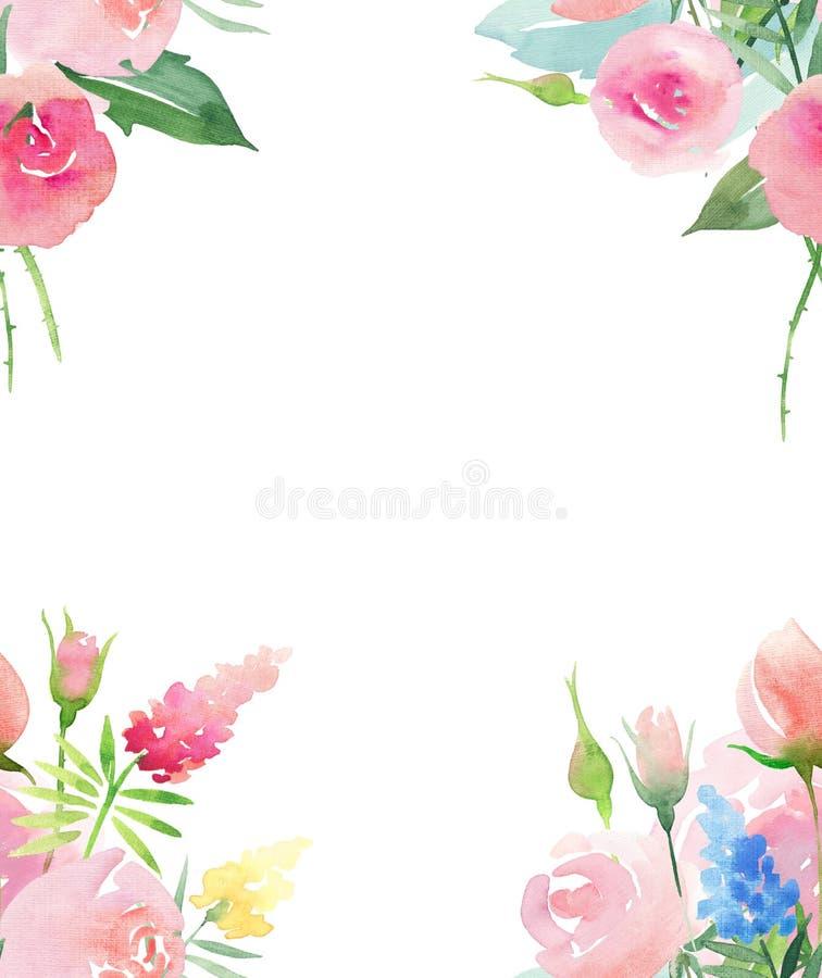 De mooie gevoelige tedere leuke elegante mooie bloemen kleurrijke roze en rode rozen van de de lentezomer met knoppen en gele bla stock illustratie