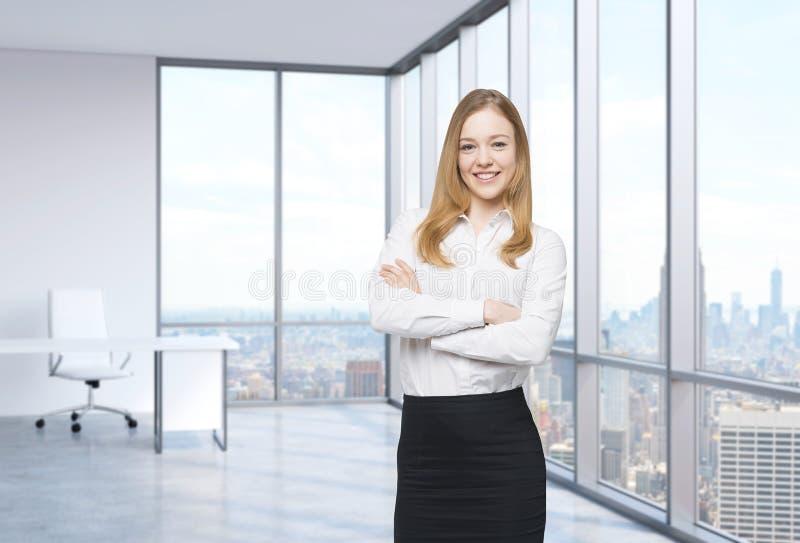 De mooie glimlachende werknemer bevindt zich in het bureau met het panorama van New York stock afbeeldingen