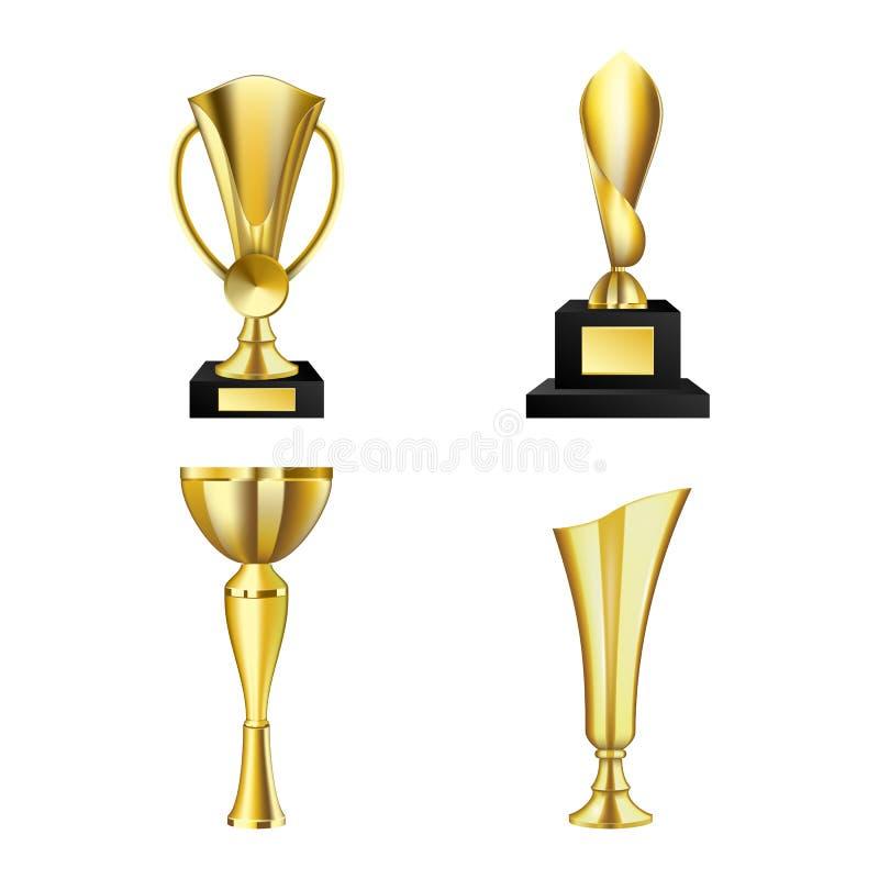 De mooie gouden trofee vormt en kent van verschillende vorm realistische die reeks toe tot een kom op witte vectorillustratie wor vector illustratie