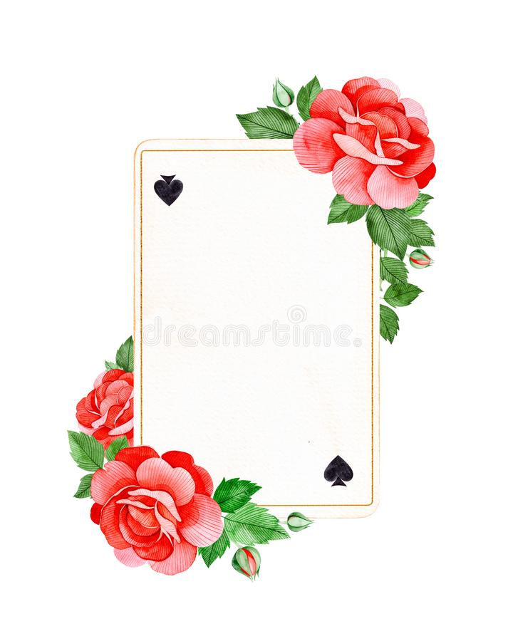 De mooie grens van het waterverfkader met rode rozen bloeit, knoppen en bladeren op speelkaart stock illustratie