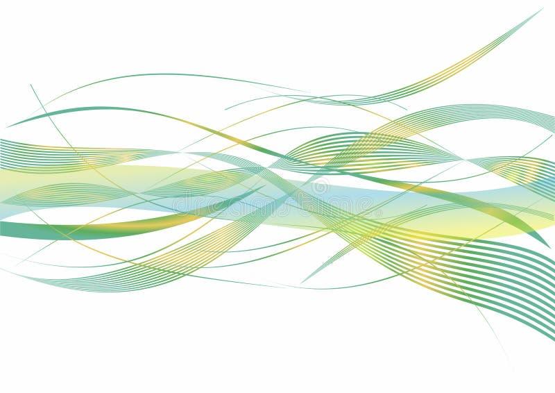 De mooie groene en gele samenvatting van combinatiegolven op witte achtergrond royalty-vrije stock afbeelding