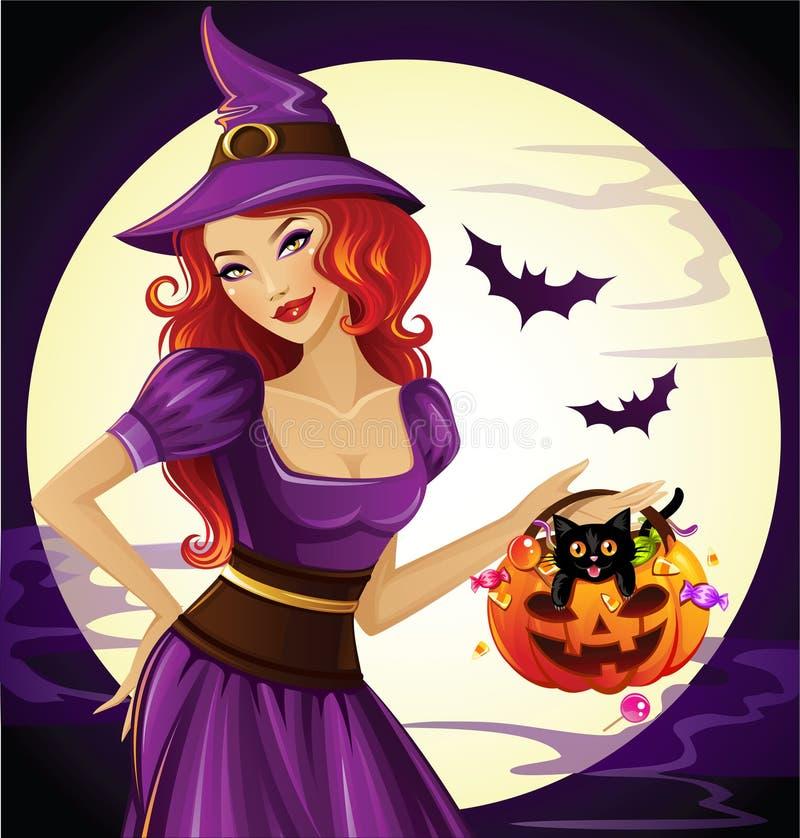 De mooie heks houdt een grappige pompoen royalty-vrije illustratie