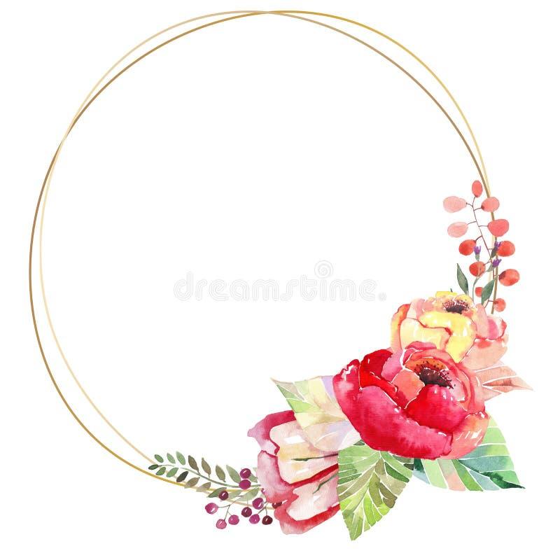 De mooie mooie heldere de herfst prachtige kleurrijke kruiden bloemen rode geeloranje bloemen met groene rode gele bladeren belle vector illustratie