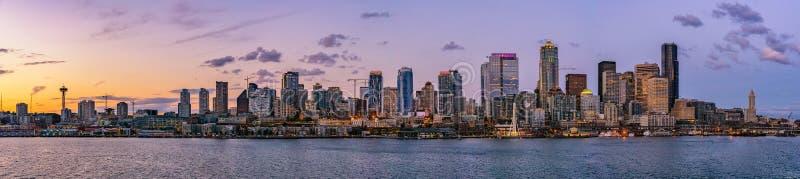De mooie horizon of cityscape van Seattle stock afbeeldingen