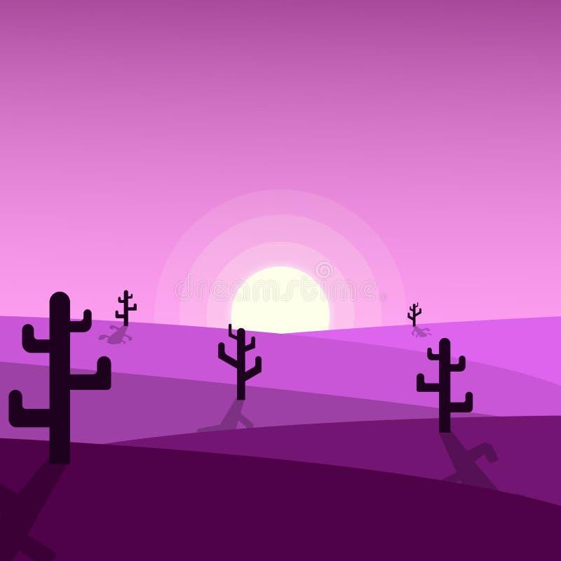 De mooie illustraties van de woestijnzonsondergang royalty-vrije illustratie
