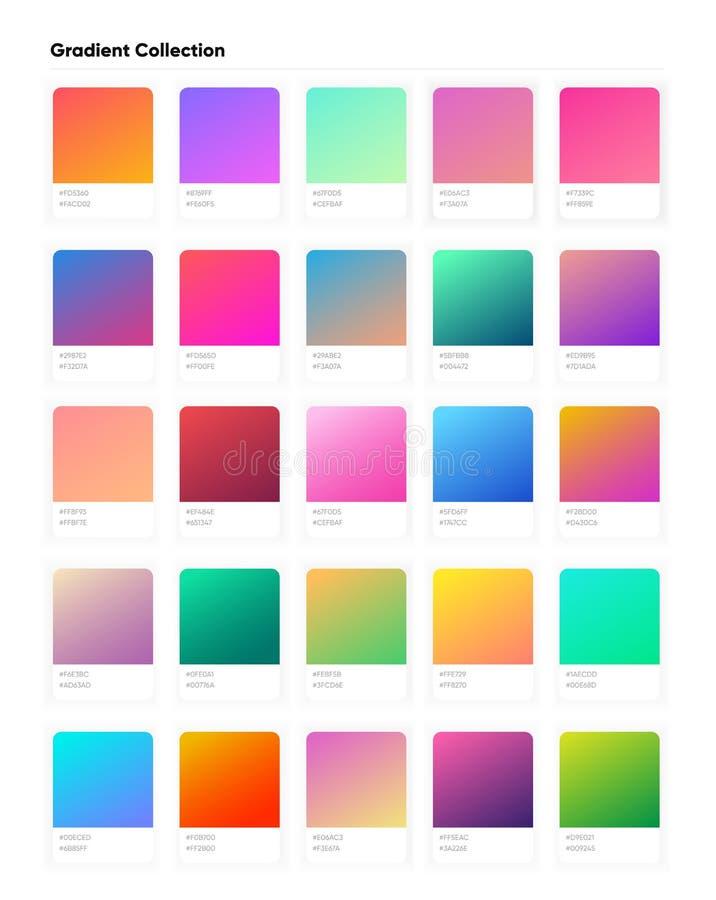 De mooie inzameling van de kleurengradiënt Gradiëntenmalplaatje voor uw ontwerp In moderne zachte gradiënten royalty-vrije illustratie