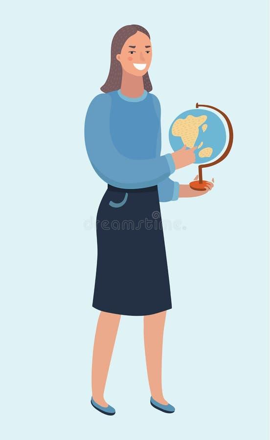De mooie jonge bol van de vrouwenholding in handen, gedetailleerde vlakke stijl vectordieillustratie op modieuze blauwe achtergro royalty-vrije illustratie
