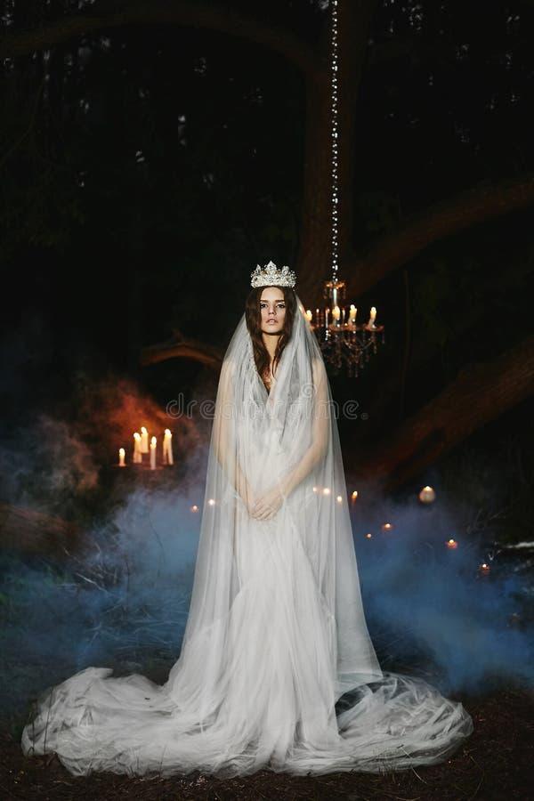 De mooie jonge donkerbruine modelvrouw met een zachte make-up in witte lingerie met een kroon en een sluier op haar hoofd bevindt stock foto's