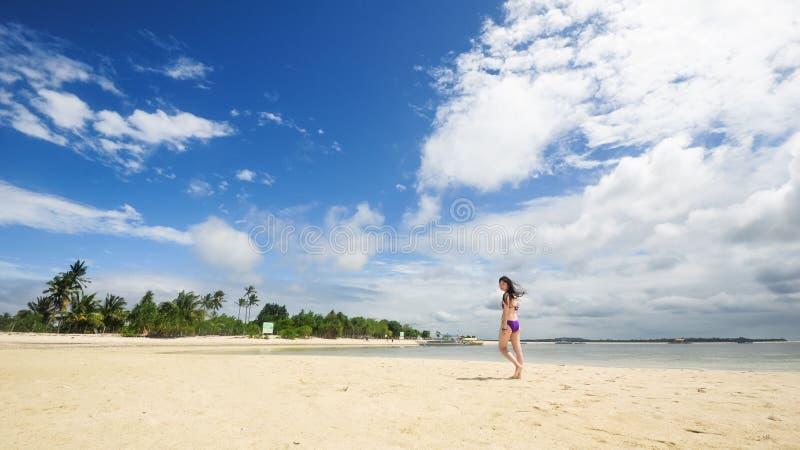 De mooie jonge gangen van het bikinimeisje op tropisch strand royalty-vrije stock foto's