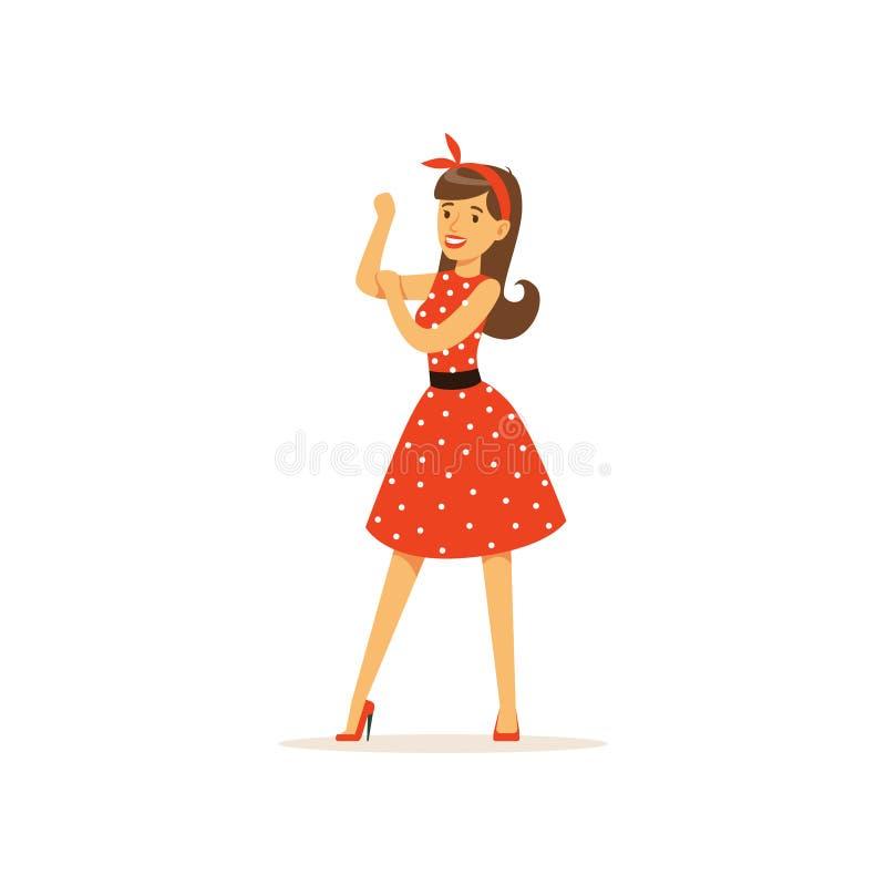 De mooie jonge vrouw in een rode stipkleding, meisje kleedde zich in retro stijl vectorillustratie royalty-vrije illustratie