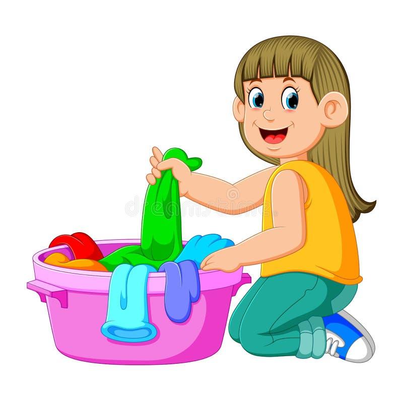 De mooie jonge vrouw houdt een bassin met wasserij stock illustratie