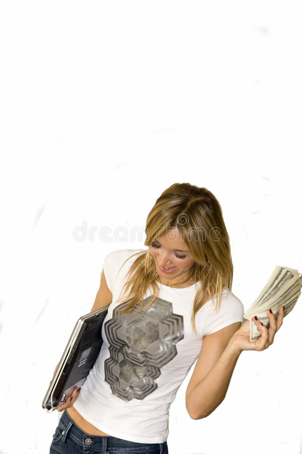 De mooie jonge vrouw maakt geld royalty-vrije stock foto's