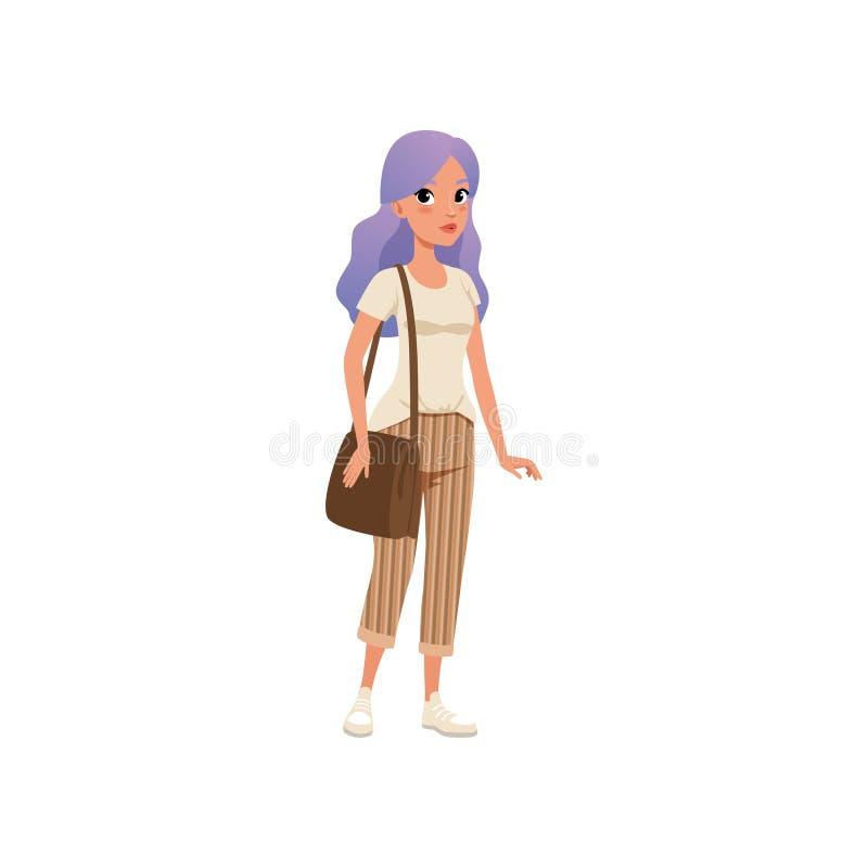 De mooie jonge vrouw met lang purper geverft haar, modieus meisje op manier kleedt vectorillustratie op een wit stock illustratie