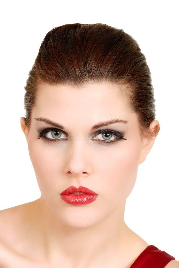 De mooie jonge vrouw van Headshot stock foto