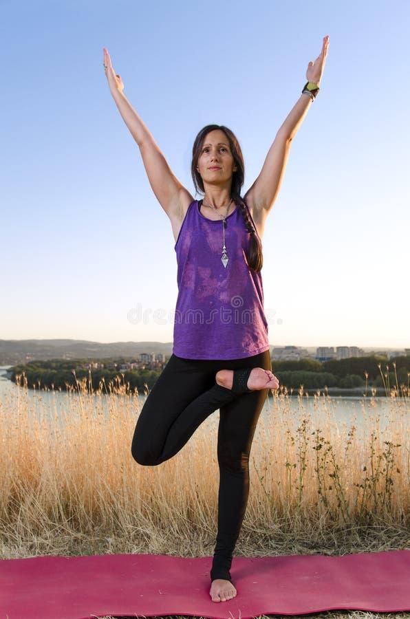 De mooie jonge vrouw in yoga stelt in openlucht royalty-vrije stock afbeelding