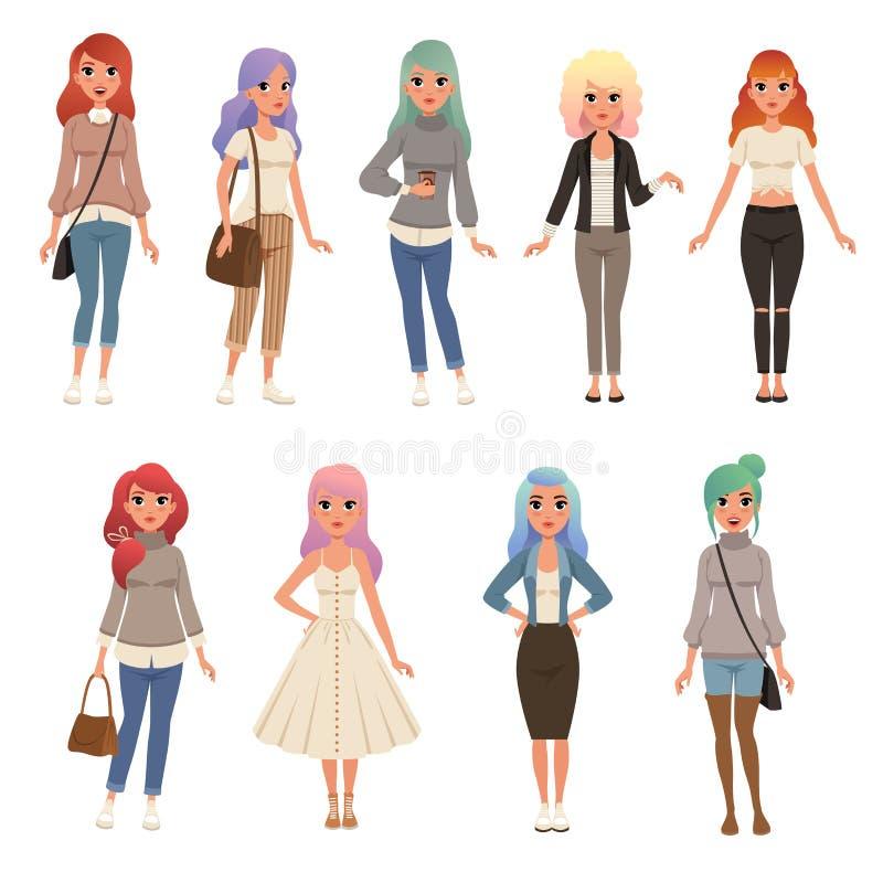 De mooie jonge vrouwen met lange geverfte haarreeks, modieuze meisjes op manier kleedt vectorillustraties op een wit vector illustratie