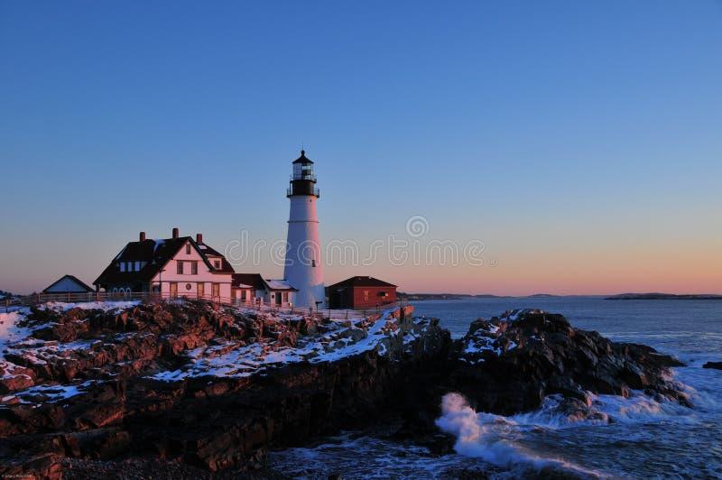 Kaap Elizabeth Lighthouse bij Zonsopgang stock afbeeldingen