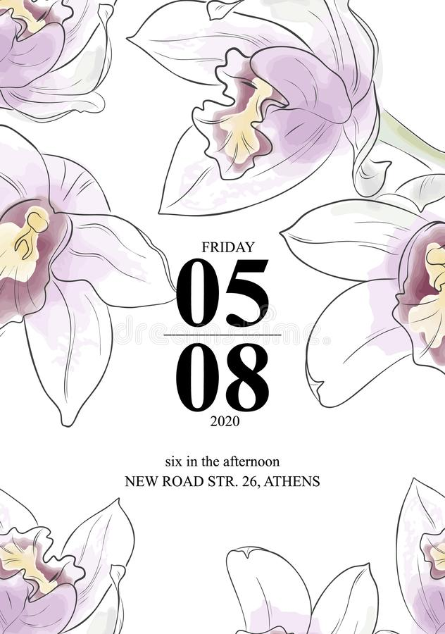 De mooie kaart van orchideeëninvittion Vectorwaterverfbloemen met de kaart van de tekstgroet De tuinbloemen van het schoonheidsbo stock illustratie