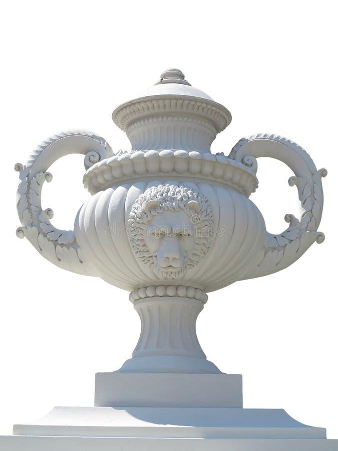 De mooie klassieke die pot van de tuinbloem wase op witte rug wordt geïsoleerd royalty-vrije stock afbeelding