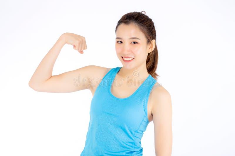 De mooie kleren van de de slijtagesport van de portret jonge Aziatische vrouw hebben sterk en de spier met gezondheid, meisje too stock fotografie