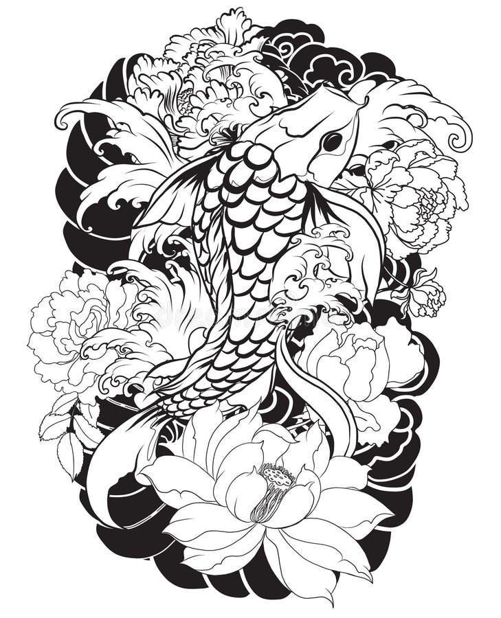 De mooie, kleurrijke Koi-karper met waterplons, de lotusbloem en de pioen bloeien Traditioneel Japans tatoegeringsontwerp royalty-vrije illustratie