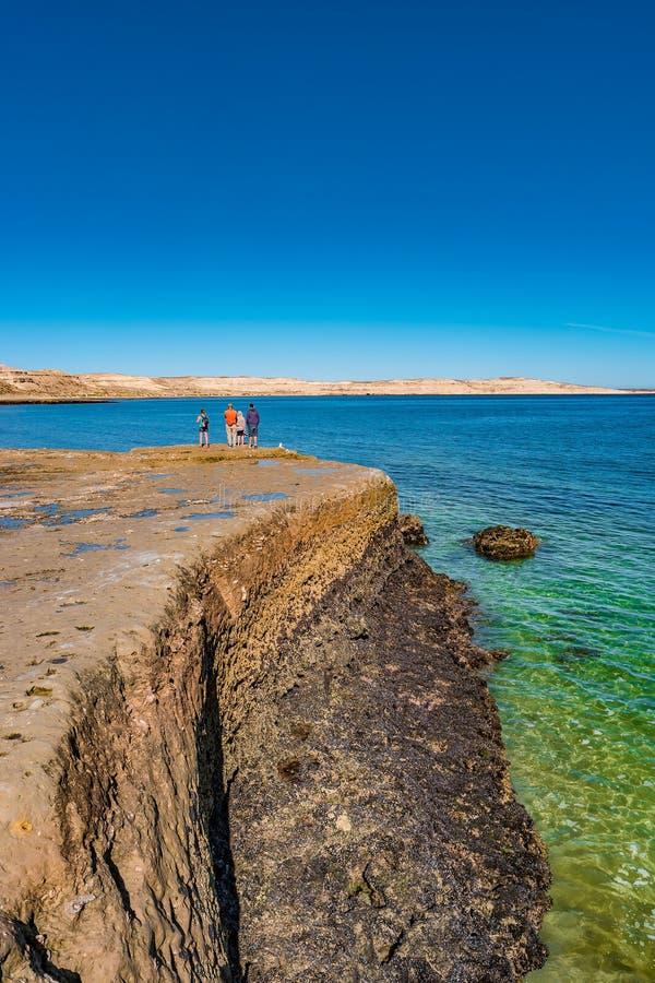 De mooie kustlijn van de Atlantische Oceaan in schiereiland Valdes Patagonië in Puerto Piramides, Argentinië stock fotografie