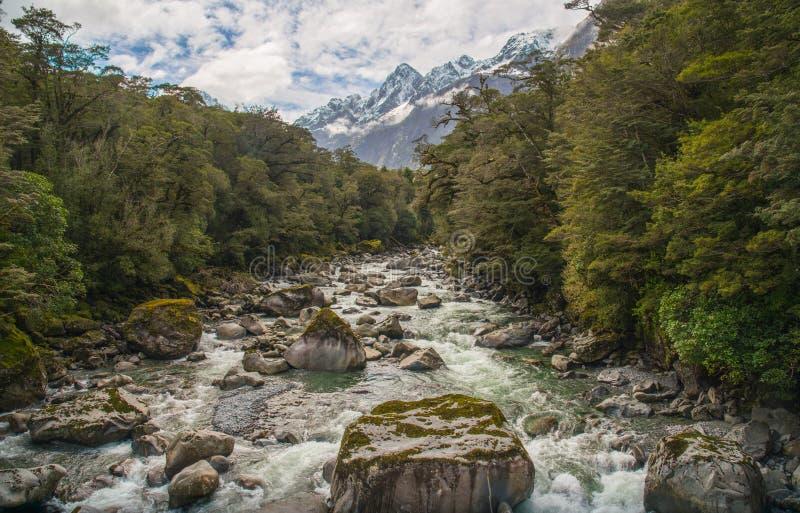 De mooie landschapsmening van de aard in de Correcte weg van Milford met MT Tutoku 2.723 meter, Nieuw Zeeland royalty-vrije stock foto's