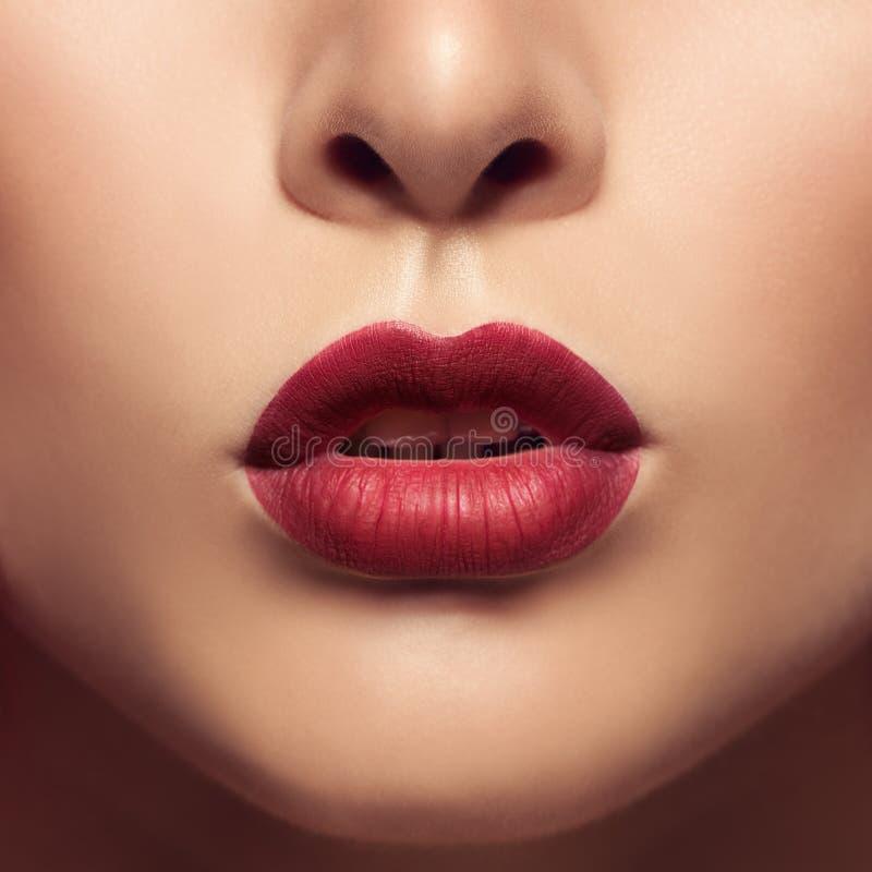 De mooie lippen sluiten omhoog Rode matlippenstift royalty-vrije stock foto's