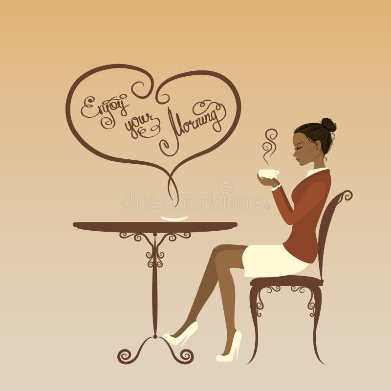 De mooie meisje het drinken koffie, geniet van uw ochtend royalty-vrije illustratie