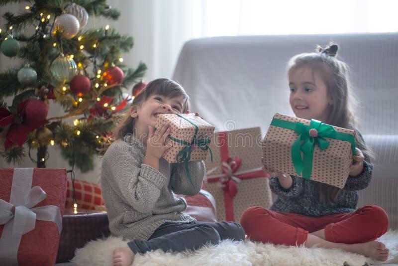De mooie meisjes houden een giftdozen en glimlachen thuis op lichte achtergrond stock afbeelding