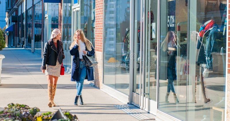 De mooie meisjes met het winkelen doet het lopen bij de wandelgalerij en het kijken in winkelvenster in zakken royalty-vrije stock afbeeldingen