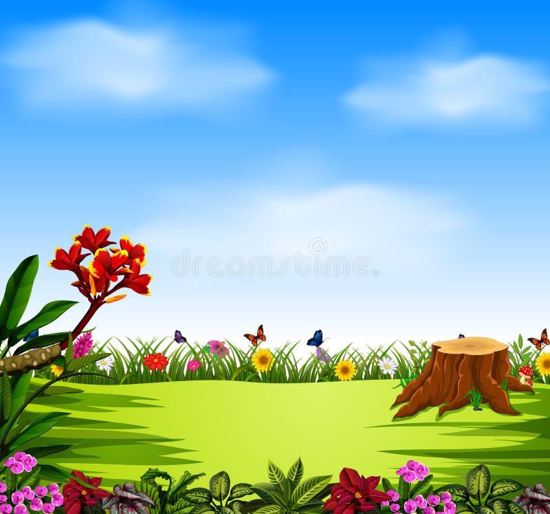 De mooie mening met de blauwe hemel en de tuin stock illustratie